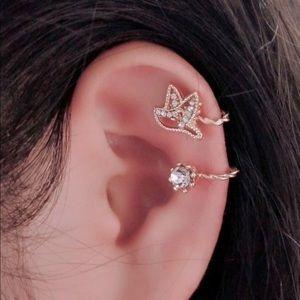 Gold Jeweled Bird Earring Cuff